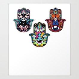 f28a56633b884 Hamsa Hand Panda Sloth Unicorn Yoga T-Shirt Gift Art Print