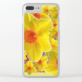 YELLOW-GOLD DAFFODILS FLOWER COLLAGE Clear iPhone Case