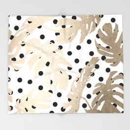 Simply Tropical White Gold Sands Palm Leaves on Dots Throw Blanket