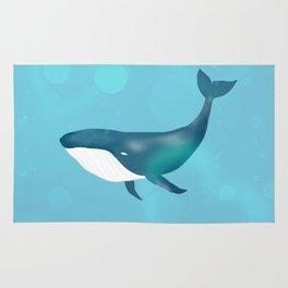 Blue whale ocean Rug