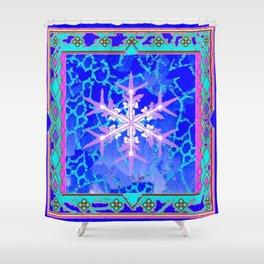 Blue Frozen Snowflake Abstract Art Shower Curtain