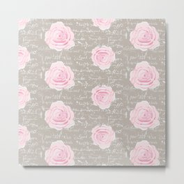 Watercolor roses on Taupe with French script Metal Print