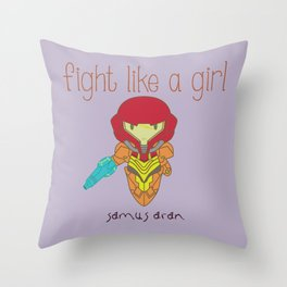 Fight Like a Girl - Metroid Throw Pillow