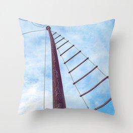 Mast and blue sky Throw Pillow