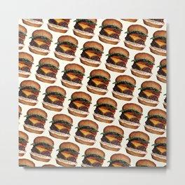Cheeseburger Pattern Metal Print