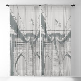 Brooklyn bridge, architecture, vintage photography, new york city, NYC, Manhattan view Sheer Curtain