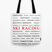 ski Tote Bags featuring Ski Racing by BACK to THE ROOTS