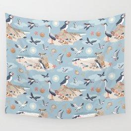 Coastal Birds Pattern Wall Tapestry