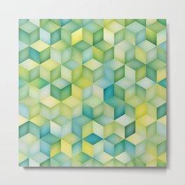 Multicolor Gradient Cube Shape Rhombus Grid Geometric Pattern Metal Print