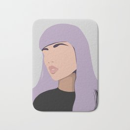 Harlow - portrait of a woman with purple hair Bath Mat