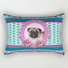 Frame Pug - Mops colorful Pattern Rectangular Pillow