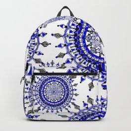 Royal Blue Winter/Holiday Snowflake Mandala Textile Backpack