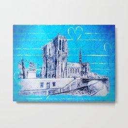 Notre Dame in Love Metal Print
