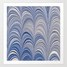 Marbled Blue and Gold Fountain Art Print