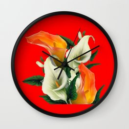 RED & WHITE-ORANGE CALLA LILIES GREY-GOLDEN GARDEN Wall Clock