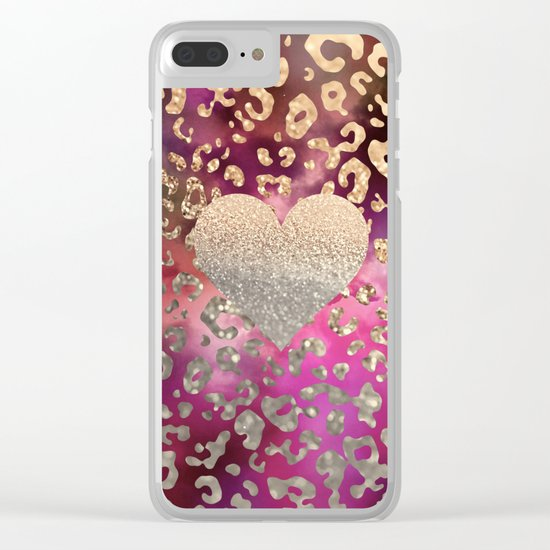 GOLD HEART LEO Clear iPhone Case
