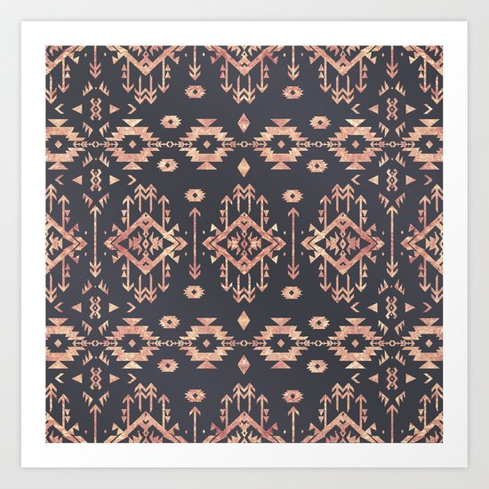 Trendy tribal geometric rose gold pattern by inovarts