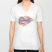 fish V-neck T-shirts featuring Fish  by Olechka
