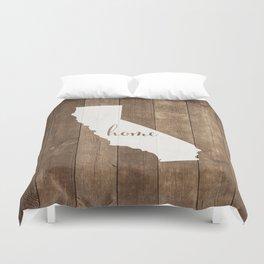 California is Home - White on Wood Duvet Cover