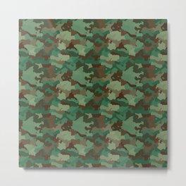Military Army Green and Khaki Brown Camo Camouflage Print Metal Print