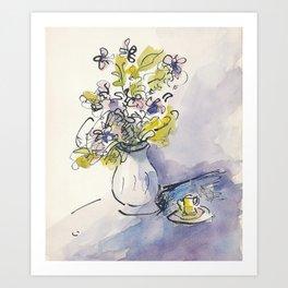 Still life of flowers in vase 2 Art Print