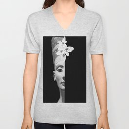 Hidden Beauty Woman Portrait Black and White #decor #society6 #buyart Unisex V-Neck