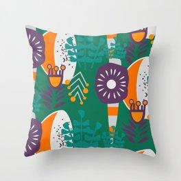Purple, green, orange botany Throw Pillow