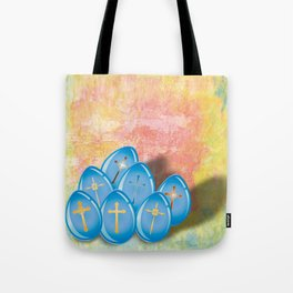 Blue eggs and crosses on pastel textured background Tote Bag