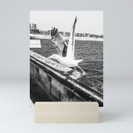 Seagull Taking Flight B&W // California West Coast Pier Vibes Beach Ocean Surf City USA Mini Art Print