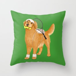 Ready for Tennis Practice (Green) Throw Pillow