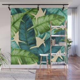 Tropical Banana Leaves Original Pattern Wall Mural