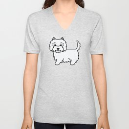 Cute West Highland White Terrier Dog Cartoon Illustration Unisex V-Neck