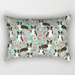 Brindle Cardigan Corgi Florals - cute corgi design, corgi owners will love this mint florals corgi Rectangular Pillow