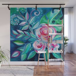 Tropical Camellia Extravaganza - oil on canvas Wall Mural