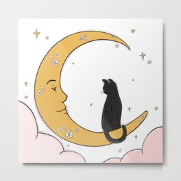 Black Cat on the Moon Metal Print