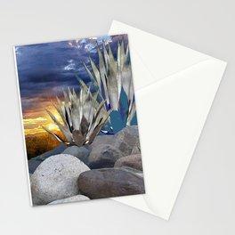 AGAVE CACTUS & GREY ROCKS SUNSET LANDSCAPE Stationery Cards