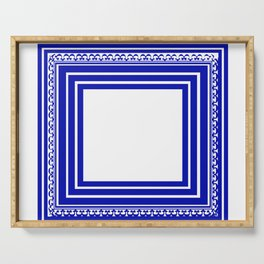Blue and White Lines Geometric Abstract Pattern Serving Tray
