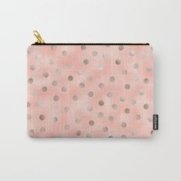 Rosy silver polka dots Carry-All Pouch