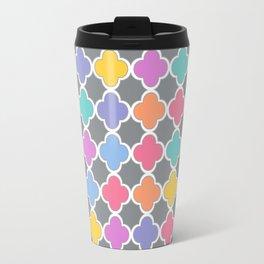 Rainbow & Gray Quatrefoil Travel Mug