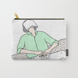 Woman is reading a book under a tree and is resting his eyes Carry-All Pouch