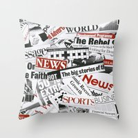 daenerys Throw Pillows featuring News Branded by bimorecreative