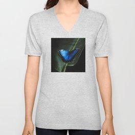 Costa Rican Blue Morpho Butterfly Unisex V-Neck