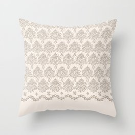 """Damask """"Cafe au Lait"""" Chenille with Lacy Edge Throw Pillow"""