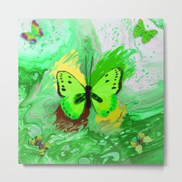 Neon Green Butterfly Metal Print