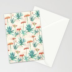 Flowering Succulent Pattern in Cream, Coral and Green Stationery Cards