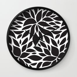 Pattern Petals black and white Wall Clock