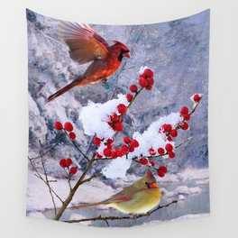 Red Birds of Christmas Wall Tapestry