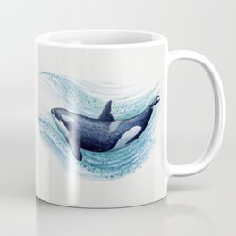 """""""Orca Spash"""" by Amber Marine ~ Watercolor Killer Whale Painting, (Copyright 2016) Coffee Mug"""