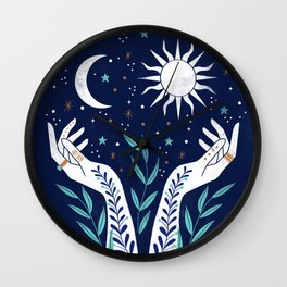 Sun Moon Stars  Wall Clock