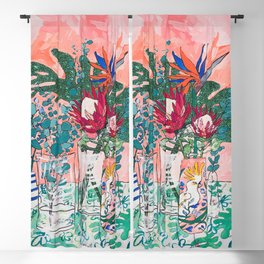 Cockatoo Vase - Bouquet of Flowers on Coral and Jungle Blackout Curtain